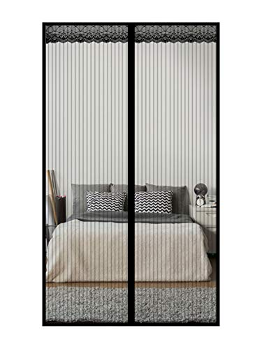Factory Sell Black Reinforced Magnetic Screen Door with Heavy Duty Mesh Curtain, Fits Doors Up to 38 x 82 Inches