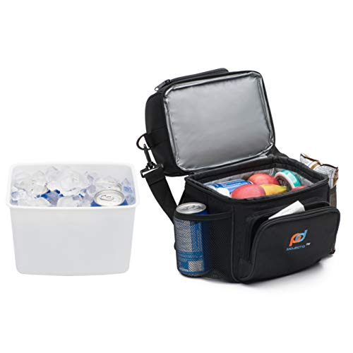 MOJECTO Small Cooler Bag with Leakproof Hard Liner Bucket -. Two Compartment, StrongFabric, Thick Foam Insulation, Strong Durable Double Zippers. Store Food, Medicines Cameras.