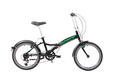 F.lli Schiano Pure, Bici Pieghevole Unisex-Adult, Nero-Verde, 20\'\'