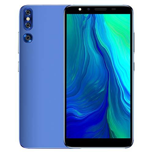 Smartphone de Pantalla Completa de 5.72 '', Teléfonos Android Ultradelgados (bloqueados), 512 MB + 4 GB de RAM, Tarjeta Dual 3G, Cámaras Duales de 2 MP, 1800 MAh, Reconocimiento Facial(Azul)