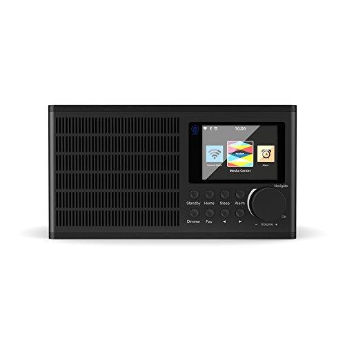 Majority Peterhouse Internet WiFi Radio, Reloj despertador doble, sistema de altavoces estéreo, carga y entrada USB, entrada auxiliar, pantalla a color, función de control de aplicaciones (negro)...