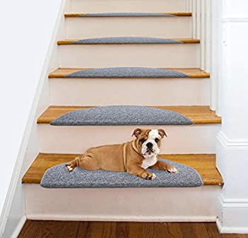 Comme Rug Non Slip Bullnose Carpet Stair Treads Stair Rugs Step Treads Stair Pads Stair Covers,Non Skid Self Adhesive with Stair Nosing for Wood Stair,9.5Inch x 26Inch Gray Set of 13