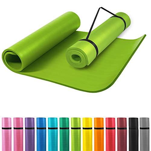 GORILLA SPORTS® Yogamatte mit Tragegurt 190 x 100 x 1,5 cm Rot rutschfest u. phthalatfrei – Gymnastik-Matte für Fitness, Pilates u. Yoga in Grün