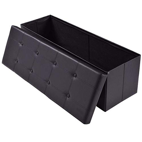 """AuAg Folding Storage Ottoman Bench Faux Leather Toy Box/Chest Window Padded Seat Foot Rest Storage Easy to Assemble (Black, 43"""")"""