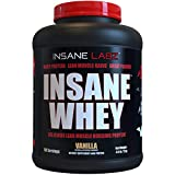 Insane Labz Insane Whey,100% Muscle Building Whey Isolate Protein,Post Workout, BCAA Amino Profile,Mass Gainer,Meal Replacement,Kosher and Halal Approved,5lbs, 60 Srvgs, Vanilla
