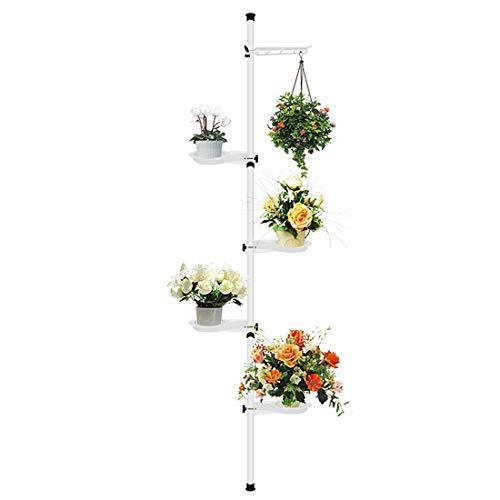 HagieNu 5-Tier Indoor Plant Pole Spring Tension Rod Corner Flower Display Rack Adjustable Plant Pot Stand Holder Telescopic Floor to Ceiling Shelf Space Saving (A)