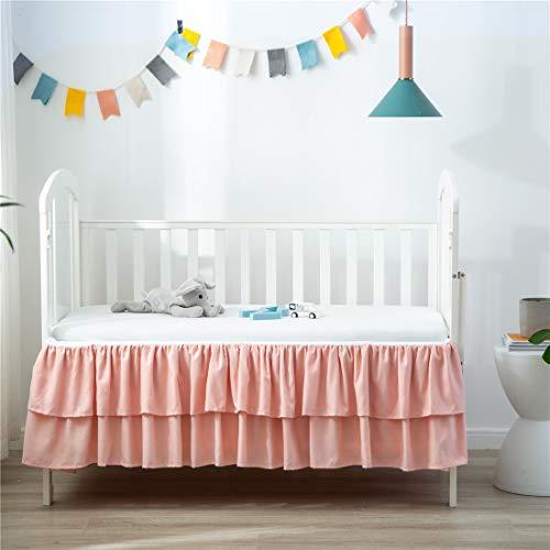 "JSD Crib Bed Skirt Dust Ruffle Double Layer Brushed Microfiber Nursery Crib Toddler Bedding Skirt for Baby Girls Pink 14"" Deep Drop"
