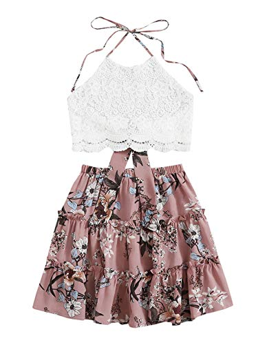 SheIn Women's 2 Piece Boho Halter Tie Back Lace Crop Top with Skirt Set Multicolor Small