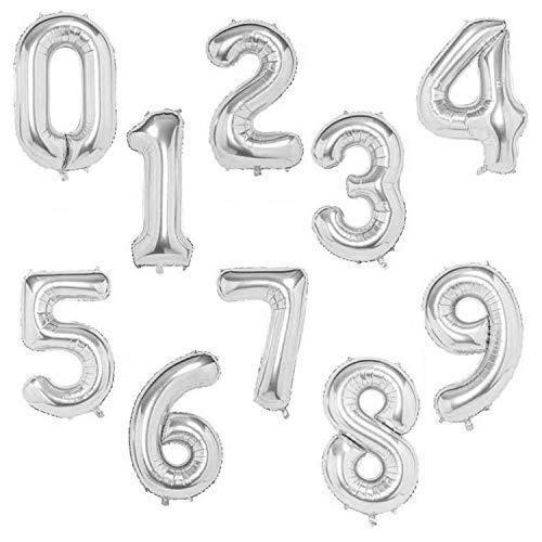 GREMAG Luftballons Geburtstag, Zahlen 0-9 Luftballons Happy Birthday für Geburtstag, Party & Deko Luftballon für Kindergeburtstag & Party Deko (Silver 0-9)