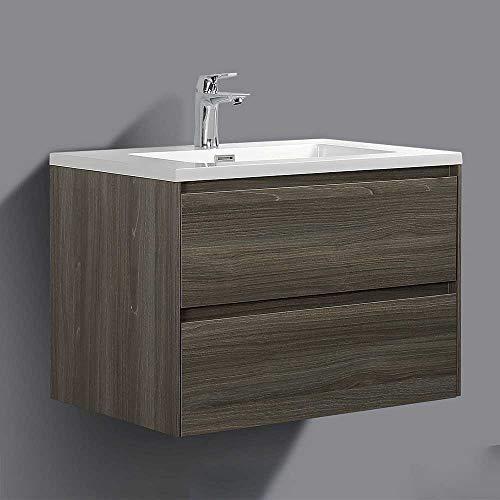 Pharao24 Waschtischunterbau im Dekor Ahorn Grau Einlass-Waschbecken Breite 60 cm