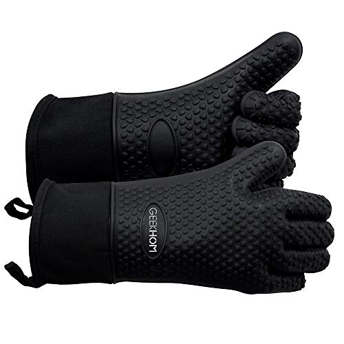 GEEKHOM Grilling Gloves, Heat Resistant Gloves BBQ Kitchen Silicone...