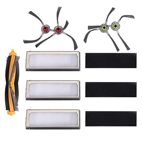 tellaLuna Kit de filtro y cepillo de repuesto para accesorios de aspiradora robótica DEEBOT 900 901, paquete de 8 (3 filtros + 4 cepillos laterales+1 cepillo principal)
