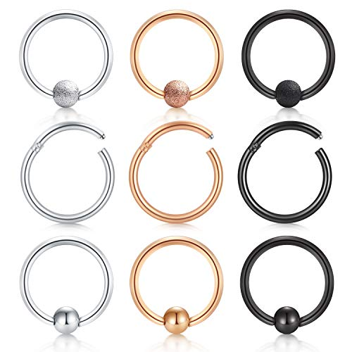 JFORYOU Cartilage Hoop Helix Earrings Nose Rings Hoop Septum Piercing Stainless Steel Ear Tragus Piercing 16G 8mm