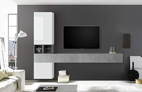 arredocasagmb Parete attrezzata Composizione Sospesa Soggiorno Moderno Effetto Cemento Bianco Lucido Pensile Porta TV Over 105 (Effetto Cemento - Bianco Lucido)