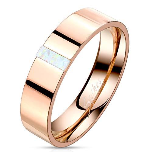 Paula & Fritz® Ring Damen Rechteckiger Opal 316L Chirurgenstahl Gr. 64 (20,5) Rosegold Herren-Ring Freundschaftsring Partnerring Männer-Ring Ehering