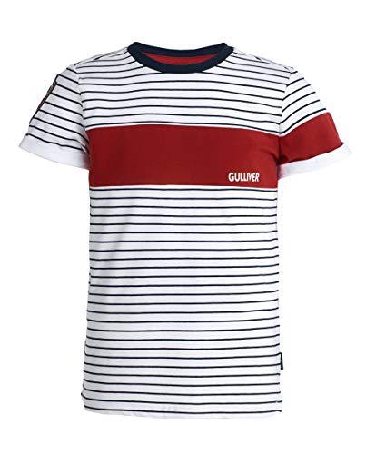 GULLIVER Jungen T-Shirt | Farbe Blau Weiß Gestreift Maritim | Kurzarm | mit Muster Druck | Baumwolle | für 8-13 Jahre