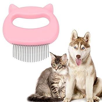 Rockyin Peigne relaxant pour chat, animal de compagnie, chien, massage coquille, toilettage, épilation brosse de nettoyage parfaite pour les chats et les petits chiens (rose)