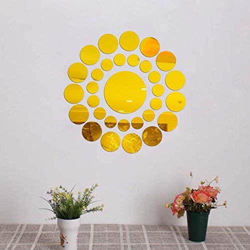 TFOOD Wandsticker, DIY gouden ronde spiegel acryl 3D Wall Sticker geschikt voor kinderen van de kamer Window Corridor DIY Decoration