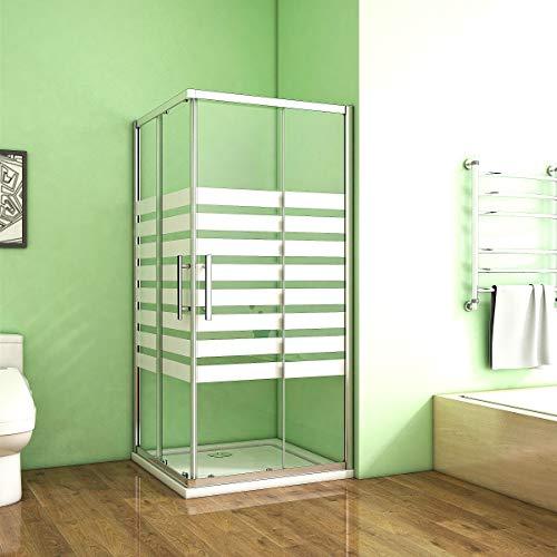 80x80cm Duschkabine Eckeinstieg Duschabtrennung Querstreifen Duschtür Eckdusche NANO Sicherheisklarglas Siebdruck Weiss Höhe 195cm