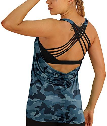 icyzone Camiseta deportiva para mujer con sujetador integrado, 2 en 1, para yoga, gimnasio, fitness, entrenamiento azul marino. XL