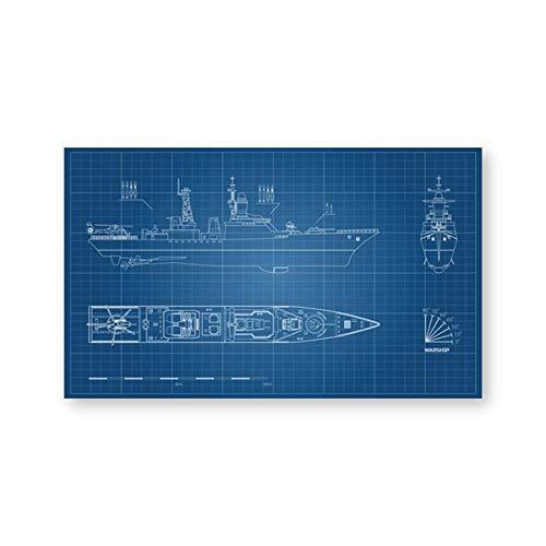 None brand Impresiones de Planos de Barcos Militares póster de Modelo de Acorazado Dibujo Industrial Arte en Lienzo Pintura Regalo Ideal para decoración de Pared sin marco-30X40cm