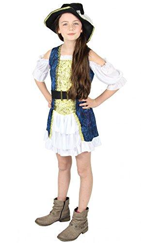 Foxxeo 40316 | Deluxe Piratenkostüm Karneval Motto Party Kostüm Piratin Seeräuberin Mädchen Gr. 98 - 158, Größe:146/152