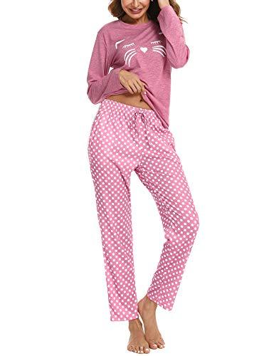 Aibrou Schlafanzug Damen Zweiteiliger Set, Weich Baumwolle Hausanzug Nachtwäsche mit Katzendruck und Polka Dot Schlafanzughose Pyjama Set Freizeitanzug