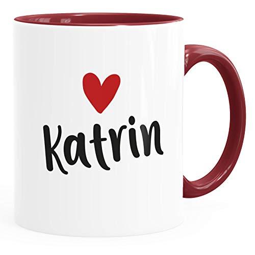 SpecialMe® Kaffeetasse mit Namen und Herz personalisierbares Motiv individuelles Geschenk Liebe beste Freundin inner-bordeaux Keramik-Tasse