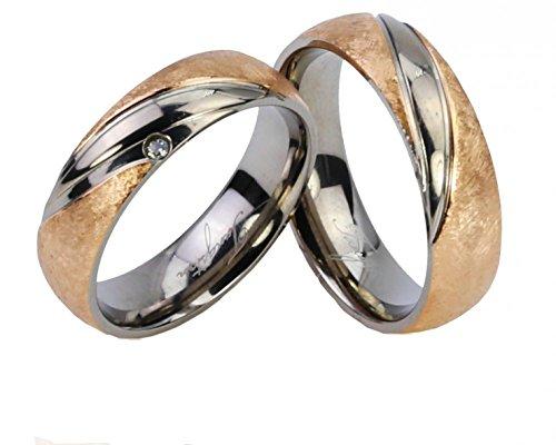 Eheringe Partnerringe Trauringe Verlobungsringe Freundschaftsringe aus Titan/Silber Gold plattiert/Laser Gravur GRATIS
