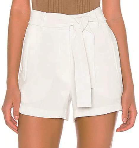 1. STATE Textured Crepe Elegant Tie High Ecru Shorts Belt Free shipping anywhere in the nation Waist