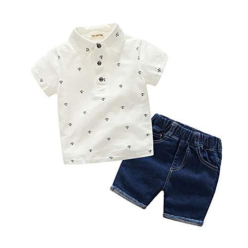 Conjunto de ropa formal para niños verano Muchacho del verano de dos colores impresos POLO camisa de manga corta pantalones cortos de mezclilla Armada juego de dos piezas Conjunto de traje de