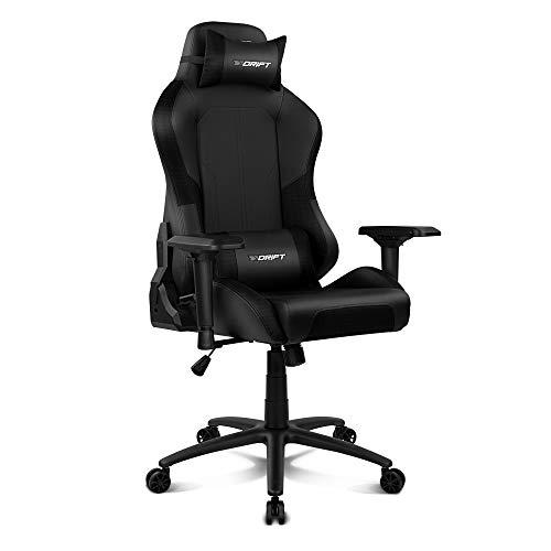 Drift DR250B - Silla Gaming Profesional, polipiel, reposabrazos ajustable 4D, piston clase 4, asiento basculable, altura regulable, respaldo reclinable, cojines lumbar y cervical, color negro