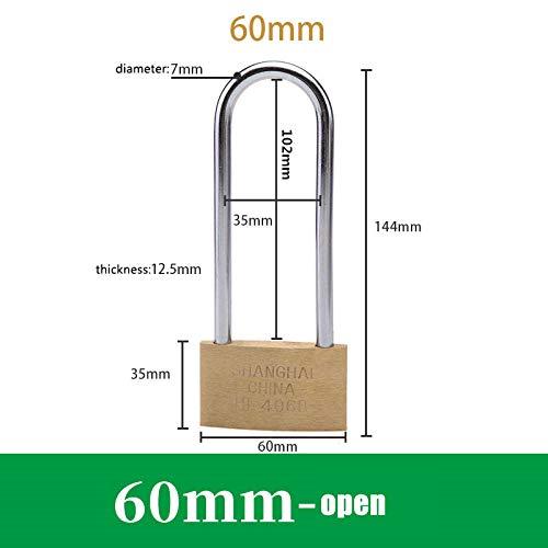 Profielcilinder, hoge kwaliteit, volledig koper, 102 mm lang lock, uitgebreid hangslot, kastdeurslot, anti-diefstal small lock, kop, open hangslot slot 60 mm opening.