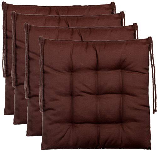BrandssellerCojín decorativo de asiento para silla de jardín, 9 pespuntes, varios diseños, poliéster, marrón, 4er-Paket