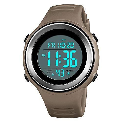 FeiWen Outdoor Sport Herren Uhren 50M Wasserdicht Digitaluhr LED Elektronik Doppelte Zeit Alarm Stoppuhr Kalender Militär Taktik Plastik mit Kautschuk Armbanduhr (Gelb)