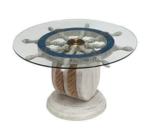 Unique Wood Ship Wheel Nautical Theme Decorative Coffee Table by NauticalMart