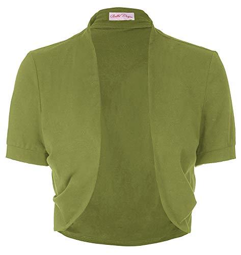 Belle Poque Shrug Bolero for Evening Dress (XXL,Olive Green)