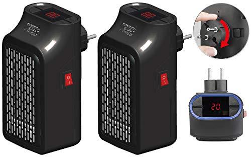 Sichler Haushaltsgeräte Mini-Steckdosen-Heizung: 2 Mini-Steckdosen-Heizlüfter, Timer, 2 Geschwindigkeits-Stufen, 350 W (Keramik Steckdosen Heizung)