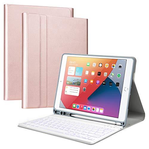 Olycism 7 Couleur rétro-éclairé Clavier Bluetooth pour iPad 10.2 2019 et 2020 / iPad Air 3 / iPad Pro 10.5, Clavier Amovible AZERTY Etui de Protection avec Porte-Stylet pour iPad 7e et 8e Génération