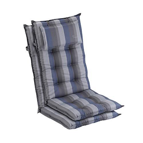 Homeoutfit24 Sylt - Cojín Acolchado para sillas de jardín, Hecho en Europa, Respaldo Alto con cojín de Cabeza extraíble, Resistente Rayos UV, Poliéster, 120 x 50 x 9 cm, 2 Unidades, Azúl/Gris