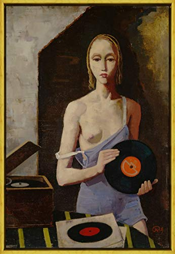 Berkin Arts Karl Hofer Rahmen Giclee Auf Leinwand drucken-Berühmte Gemälde Kunst Poster-Reproduktion Wand Dekoration Fertig zum Aufhängen(Der Plattenspieler) #XLK