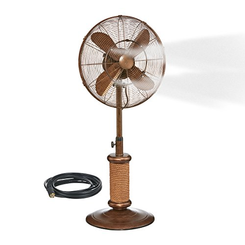 """Oscillating Fan with Misting Kit - 3 Cooling Speeds with High RPM, Adjustable Height - Art Deco Floor Fan, 19"""" Stand with Weighted Base - Includes Misting Kit for Outdoor Use"""