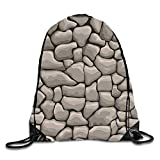 uykjuykj Bolsos De Gimnasio,Mochilas,Underwater Kitty Sackpack Drawstring Backpack Waterproof Gymsack Daypack For Men Women Stones wall7 Lightweight Unique 17x14 IN