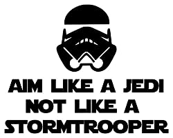 Aim Like a Jedi not a Stormtrooper BLACK custom vinyl decal sticker 7 x 5.5 inch Toilet Sign