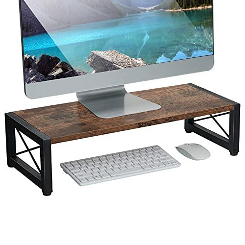 Giikin Vintage Wood Monitor Stand Riser, 21.6 Inch Desktop Shelf Storage Organizer, Ergonomic Desk & Tabletop Organizer Desktop Stand for Laptop, Computer, MacBook, Notebook, PC(Dark Brown)