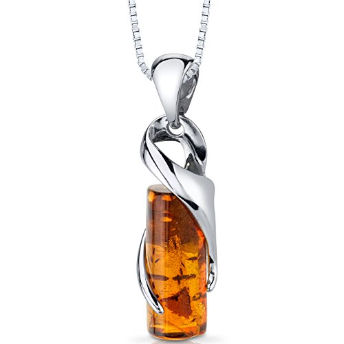 Baltic Amber Cylindrical Pendant Necklace Sterling Silver Cognac Color