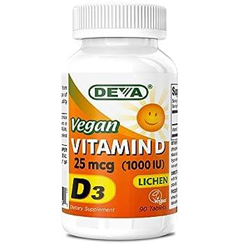 Deva Vegan Vitamin D3 1000 IU Cholecalciferol Supplement with No Animal Ingredients Lichen Source 25 mcg 90 Tablets