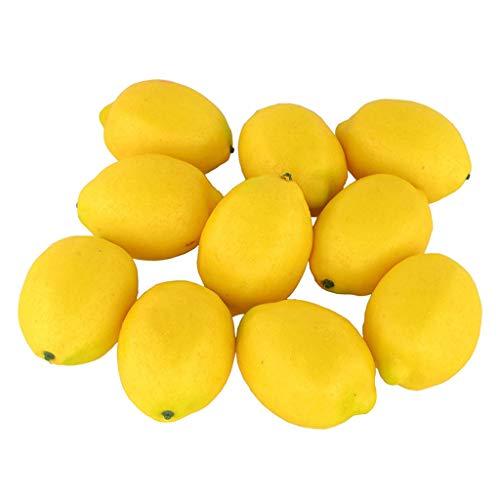 BRISEZZ Deko Zitrone 10 Stück Kunstobst Kunstgemüse künstliches Obst Gemüse Dekoration Haus Büro Deko