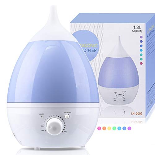 Janolia Umidificatore Ultrasuoni 1.3L, Diffusore di Olio Essenziale con 7 luci LED per casa, camera da letto, Baby Room, Yoga, ufficio, spa blu