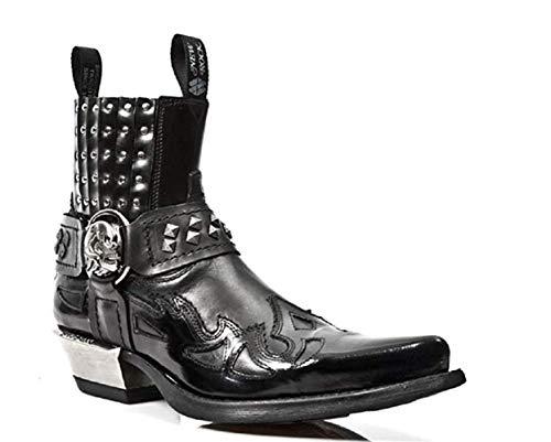 New Rock Newrock m.7950-s1schwarz Stiefelette Western Goth Gurt Totenkopf Ohrstecker Metall, schwarz - schwarz - Größe: 43 EU